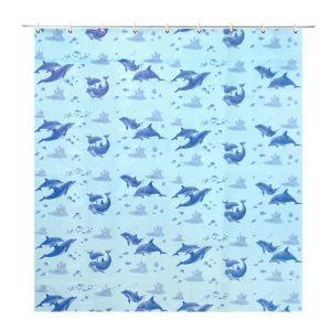 """Штора для ванной 180?180 см """"Дельфины"""", цвет голубой"""