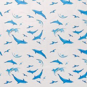 """Штора для ванной 180?180 см """"Дельфины"""", полиэстер, цвет белый"""