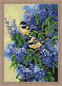 Алмазная мозаика «Птички в сирени» 30x40 см