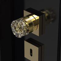 Комплект кноб Glass Design Mirage. латунь полированная/прозрачный-золотой кристалл