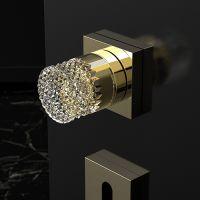 Комплект кноб Glass Design Princess. латунь полированная/прозрачный-золотой кристалл
