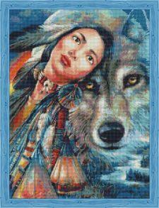Алмазная мозаика «Алеутка и волк» 50x65 см