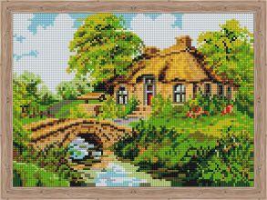Алмазная мозаика «Дом с каменным мостиком» 30x40 см
