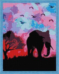 Алмазная мозаика «Пурпурное Сафари» 40x50 см