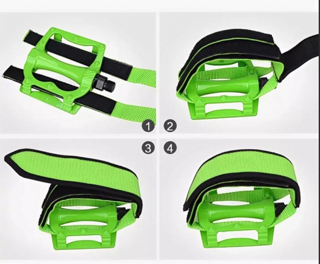 Ремешки (туклипсы) для велосипедных педалей, 2 шт. Цвет Зеленый