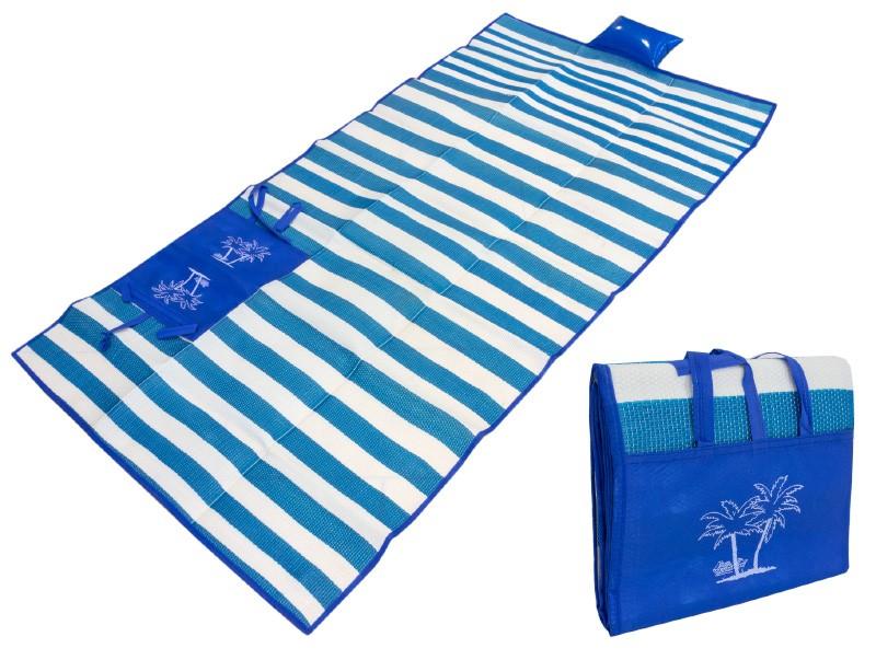 Пляжный коврик с ручками для переноски, 150х170 см. Цвет  Синий