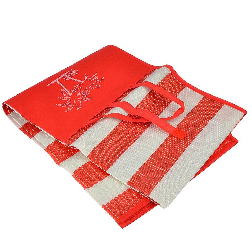 Пляжный коврик с ручками для переноски, 120х170 см. Цвет  Красный