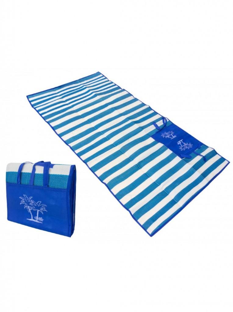 Пляжный коврик с ручками для переноски, 90х170 см. Цвет  Синий