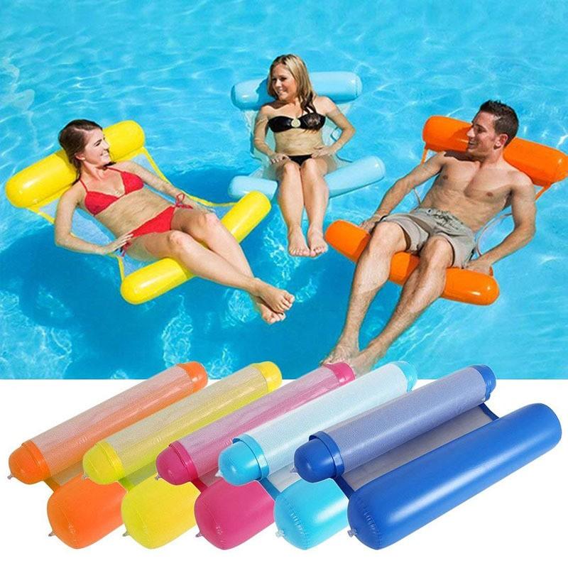 Надувной шезлонг для плавания Floating Bed, 130х73 см. Цвет  Голубой