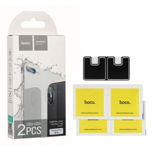 Защитное закаленное стекло Hoco для камеры iPhone X (2шт) (V11) прозрачное
