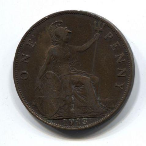 1 пенни 1913 года Великобритания XF-