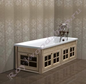 """Экран для ванны """"Глазго складной, береза"""""""