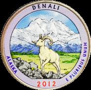 25 центов 2012 США Денали (Denali) 15-й парк, цветная