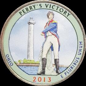 25 центов 2013 США Победа адмирала Перри (Perry's Victory) 17-й парк, цветной