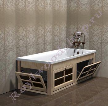 """Экран для ванны """"Глазго откидной береза"""""""