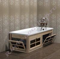 Экран под ванну с откидными дверками длиной 150/170 см с откидной торцевой дверкой. Цвет- выбеленная береза.