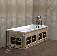 """Экран для ванны """"Глазго откидной, береза"""" со стеклянными дверцами, угловой"""