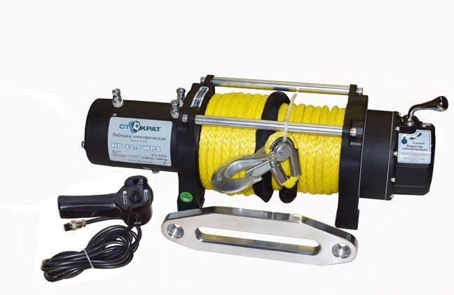 Лебедка электрическая автомобильная СТОКРАТ HD 12.5 WP, 12V, 6.8 л.с. с синтетическим тросом