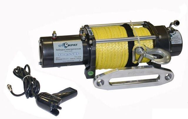 Лебедка электрическая автомобильная СТОКРАТ SD 9.5 SW, 12V, 5.7 л.с. с синтетическим тросом
