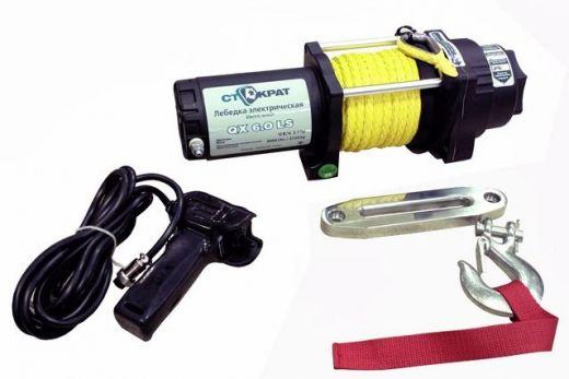 Лебедка электрическая ATV и SUV СТОКРАТ QX 6.0 LS, 12V, 2.1 h.p. с синтетическим тросом и удлиненным стальным барабаном