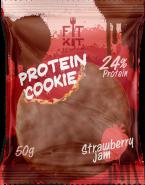 Печенье высокобелковое глазированное Клубника Cookie от Fit Kit 50 гр