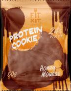 Печенье высокобелковое глазированное Мёд Cookie от Fit Kit 50 гр