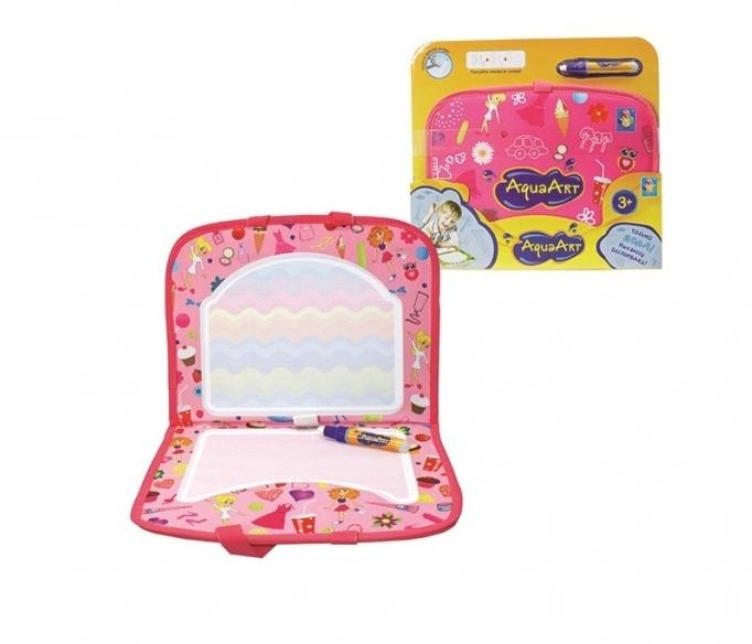 1toy AquaArt Розовый коврик для рисования с водным маркером, моноцветный для девочек