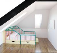 Кровать Домик угловой Butterfly Мансарда №4