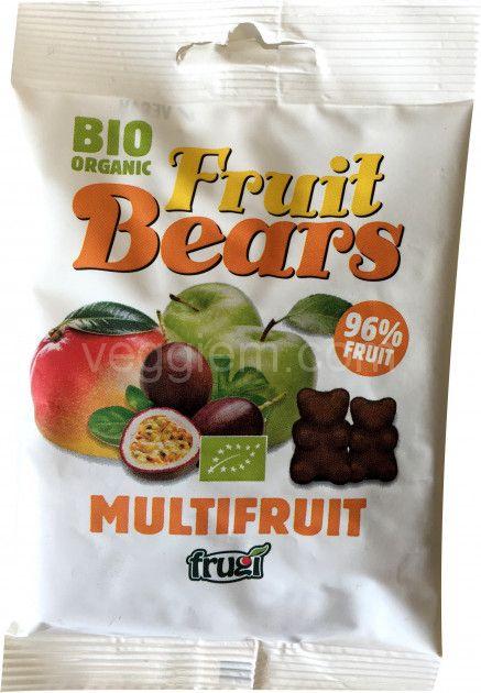 Органические жевательные медвежуйки со вкусом яблока, манго и маракуйи Fruit Bears,50 грамм