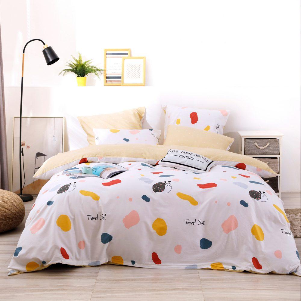 Комплект постельного белья Делюкс Дуэт Семейный  Сатин на резинке LR208