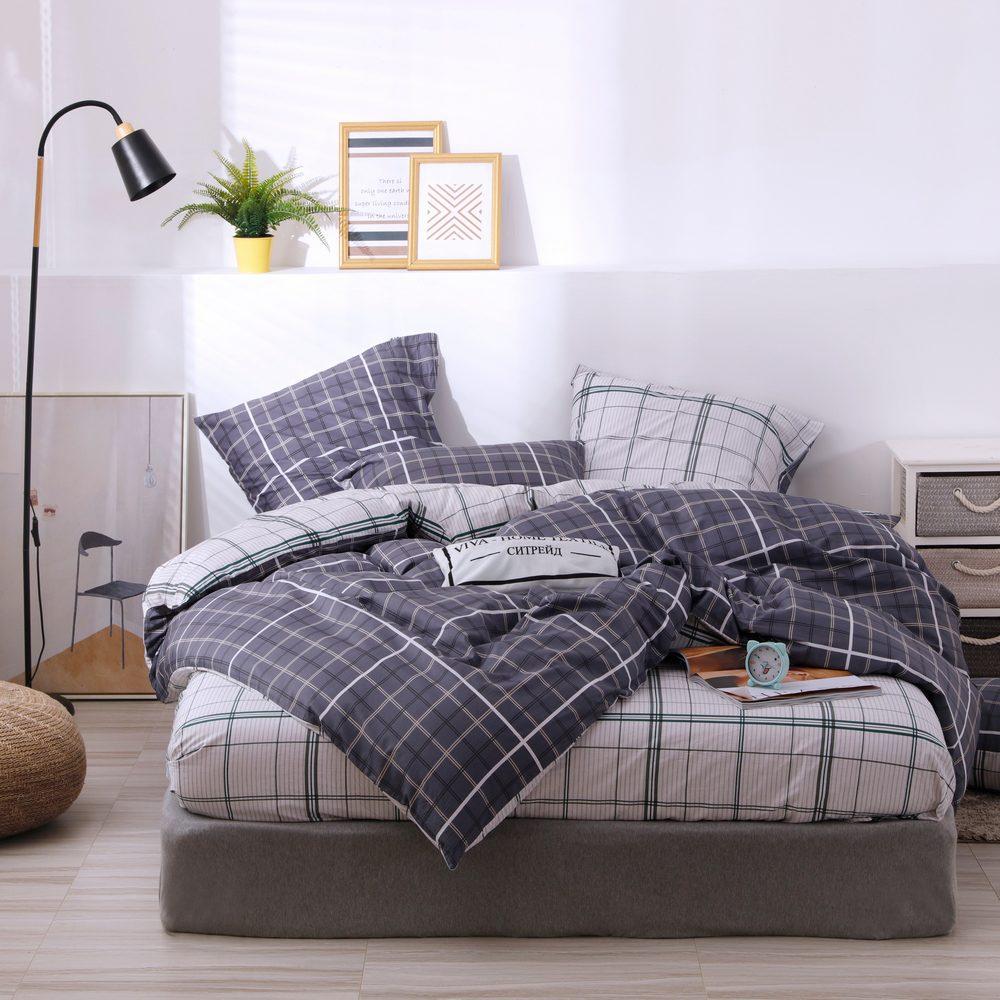 Комплект постельного белья Делюкс  Евро  Сатин на резинке LR214