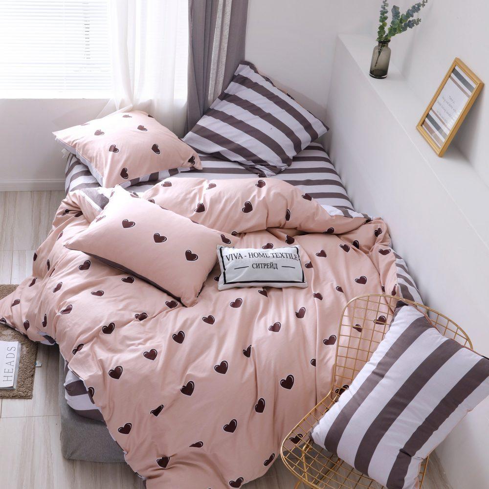 Комплект постельного белья Делюкс 2 спальный Сатин L209