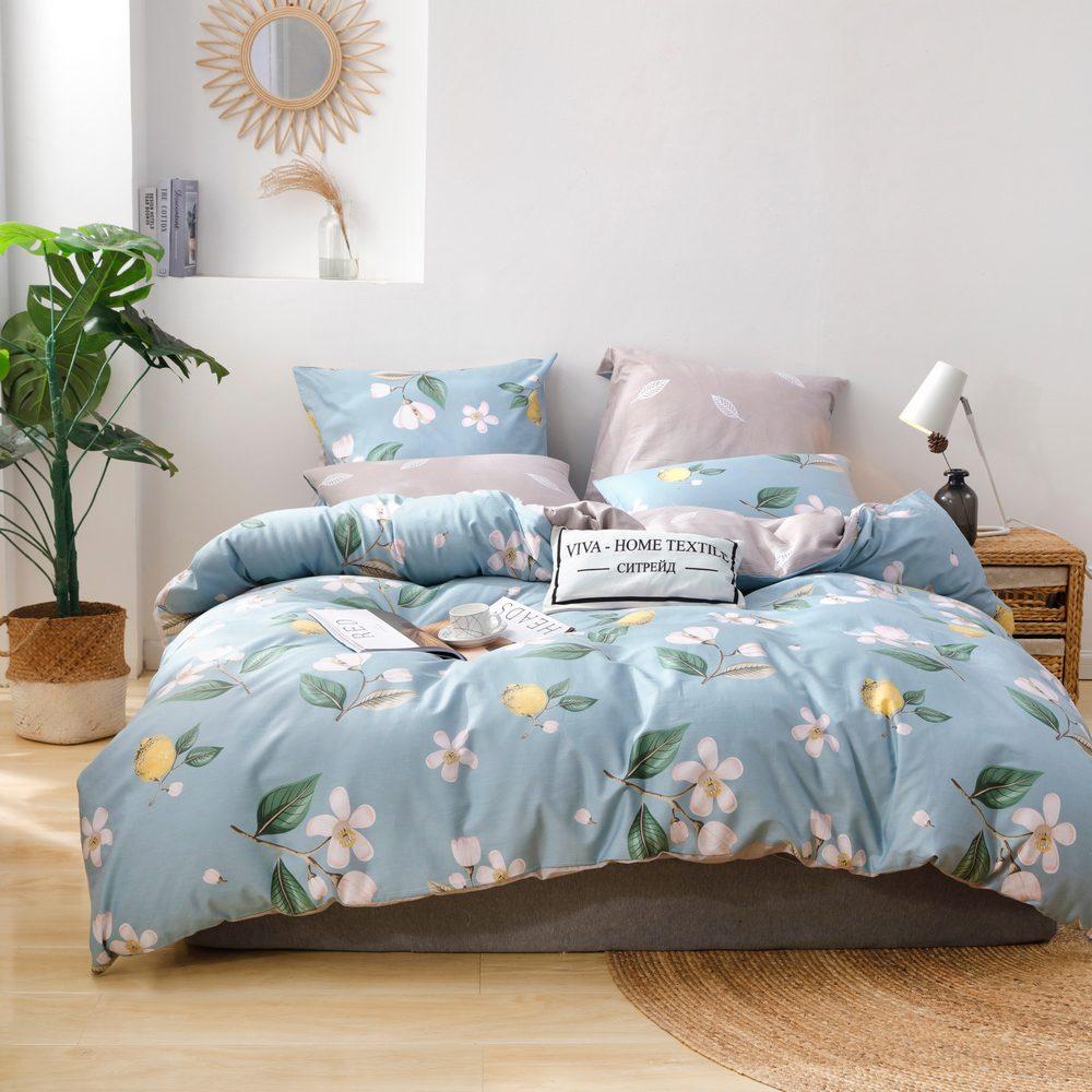 Комплект постельного белья Делюкс 2 спальный Сатин L222