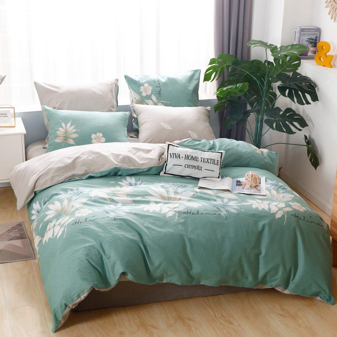 Комплект постельного белья Делюкс Дуэт Семейный  Сатин на резинке LR207