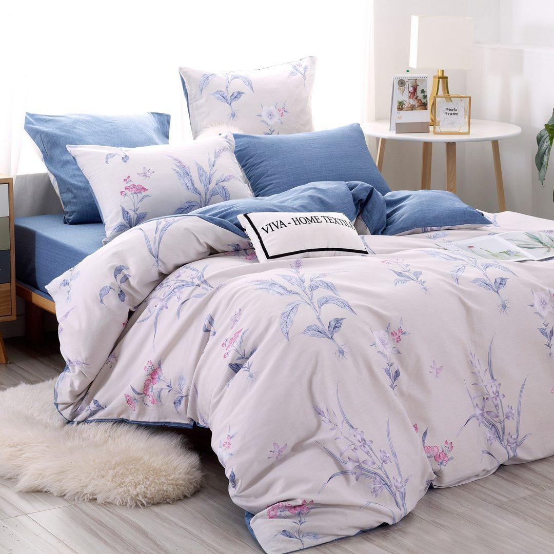 Комплект постельного белья Делюкс 2 спальный Сатин на резинке LR211