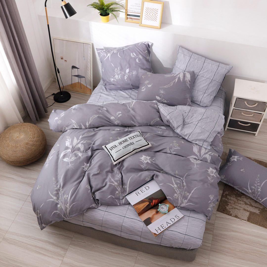 Комплект постельного белья Делюкс 2 спальный Сатин на резинке LR216