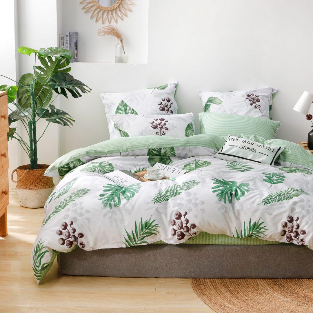 Комплект постельного белья Делюкс 2 спальный Сатин на резинке LR217