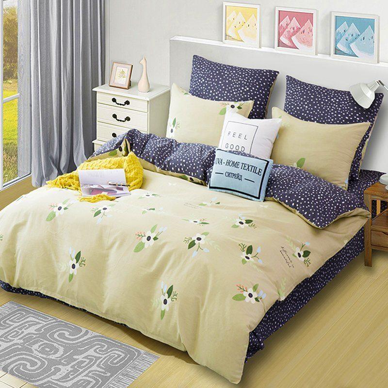 Комплект постельного белья Делюкс 2 спальный Сатин на резинке LR170