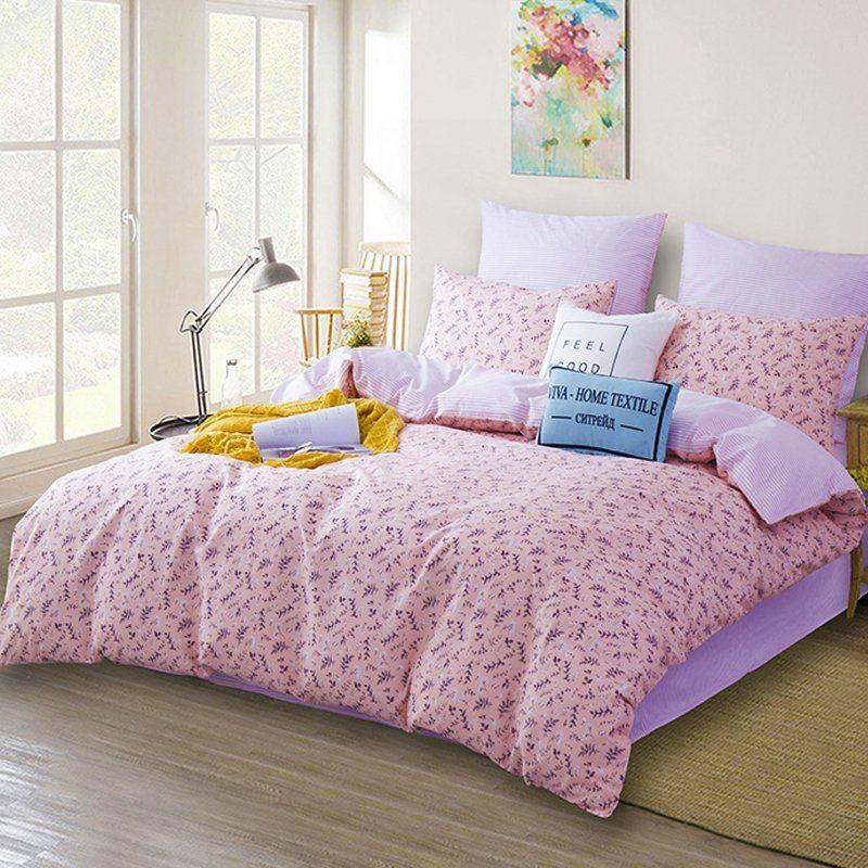 Комплект постельного белья Делюкс 2 спальный Сатин на резинке LR171