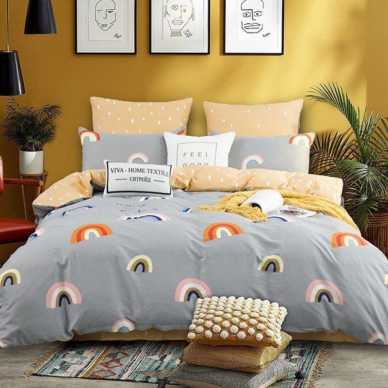 Комплект постельного белья Делюкс  Евро  Сатин на резинке LR191
