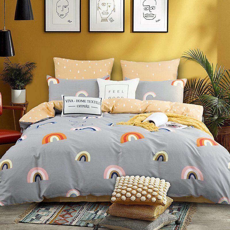 Комплект постельного белья Делюкс 2 спальный Сатин на резинке LR191