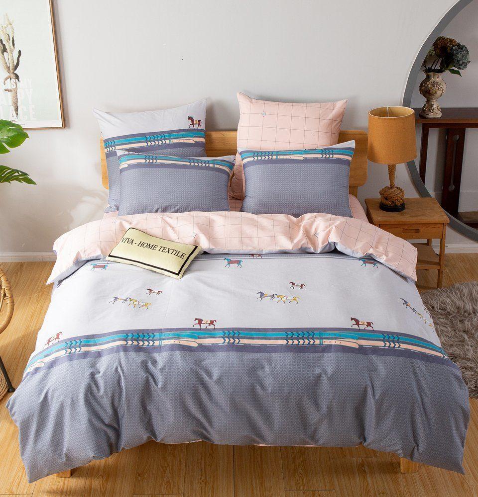 Комплект постельного белья Делюкс 2 спальный Сатин на резинке LR194