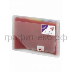 Папка А4 6 отделений на застежке Snopake карман для визитных карт 15767