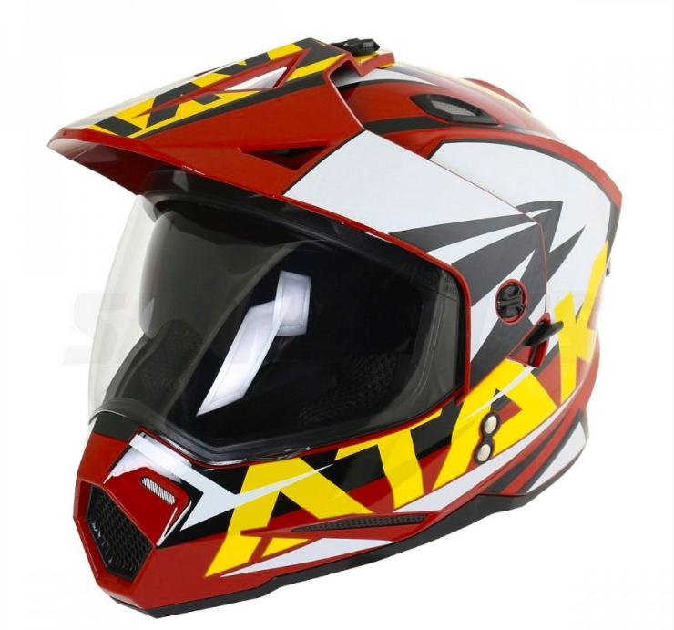 Шлем (мотард) Ataki JK802 Rampage красный/желтый/белый