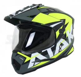 Шлем (мотард) Ataki JK802 Rampage черный/желтый/белый