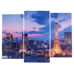 "Модульная картина ""Ночной Париж""  (2-25х52; 1-30х60) 60х80 см   3981626"