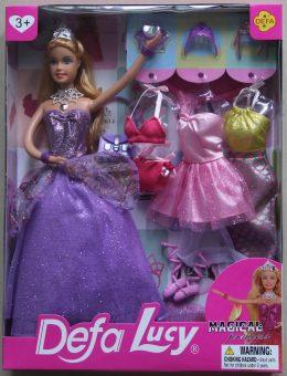 """Кукла Defa Lucy. Игровой набор Defa Luсy """"Красотка"""" фиолет., 1 кукла, 14 предм. в комплекте"""