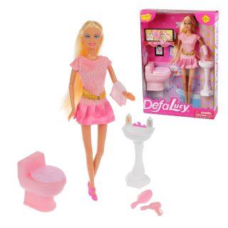 Кукла Defa Lucy. Набор: ?Ванная?. аксесс. 9 предм.