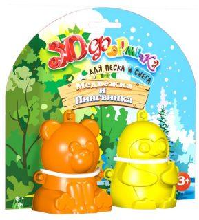 Формочка 3D Медвежка и Пингвинка №1