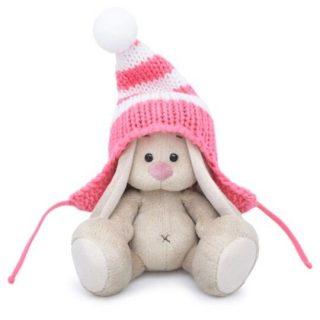 Зайка Ми в полосатой розовой шапке (малыш) 15 см